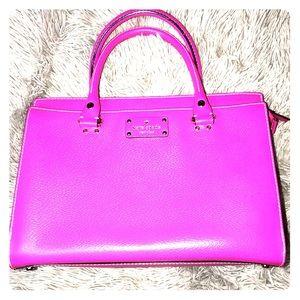 Kate Spade hot pink satchel with shoulder strap